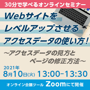 【終了】【2021年8月10日(火)13時00分〜13時30分】Webサイトをレベルアップさせるアクセスデータの使い方! 〜アクセスデータの見方とページの修正方法〜 【オンライン開催】